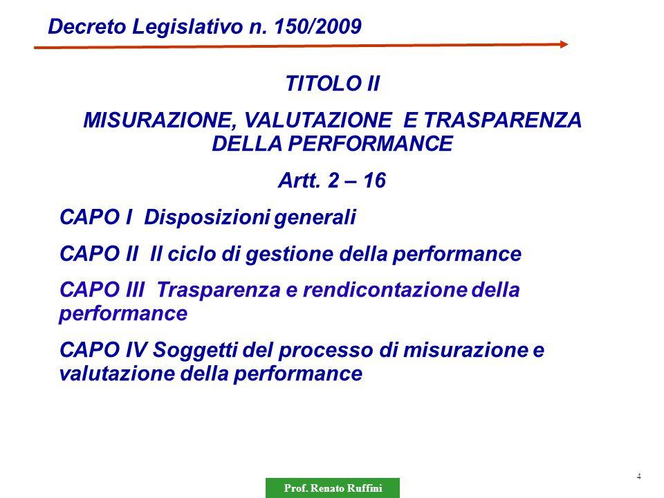 Prof. Renato Ruffini 4 Decreto Legislativo n. 150/2009 TITOLO II MISURAZIONE, VALUTAZIONE E TRASPARENZA DELLA PERFORMANCE Artt. 2 – 16 CAPO I Disposiz