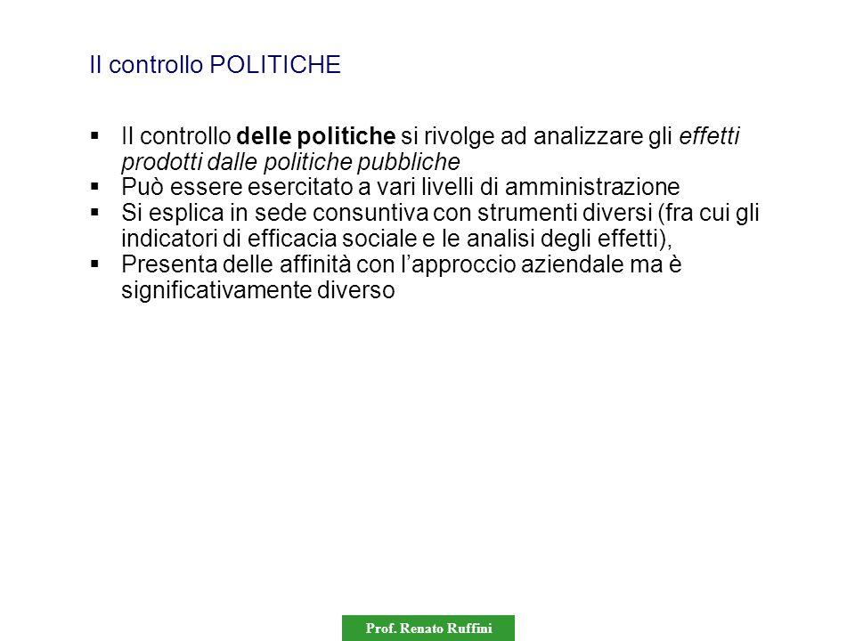 Prof. Renato Ruffini Il controllo POLITICHE  Il controllo delle politiche si rivolge ad analizzare gli effetti prodotti dalle politiche pubbliche  P