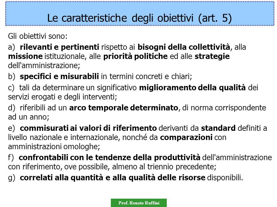 Prof. Renato Ruffini CARATTERISTICHE DEGLI OBIETTIVI Art. 5 D.Lgs. 150/2009 Gli obiettivi sono: a) rilevanti e pertinenti rispetto ai bisogni della co