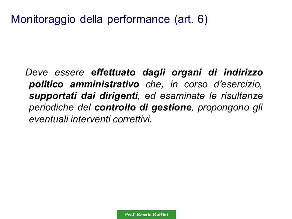 Prof. Renato Ruffini Monitoraggio della performance (art. 6) Deve essere effettuato dagli organi di indirizzo politico amministrativo che, in corso d'