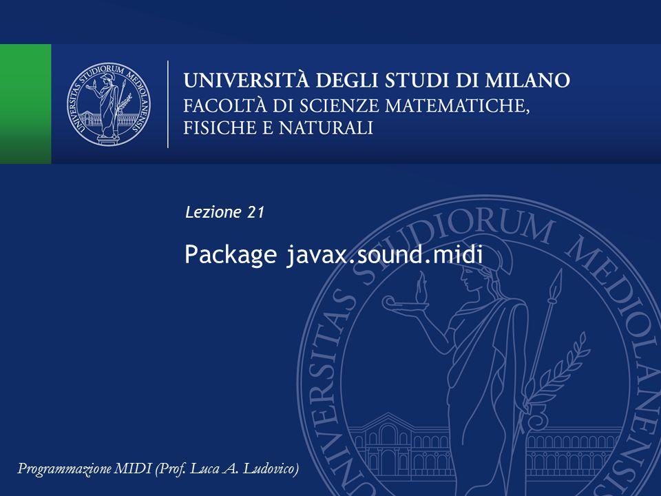 Package javax.sound.midi Lezione 21 Programmazione MIDI (Prof. Luca A. Ludovico)