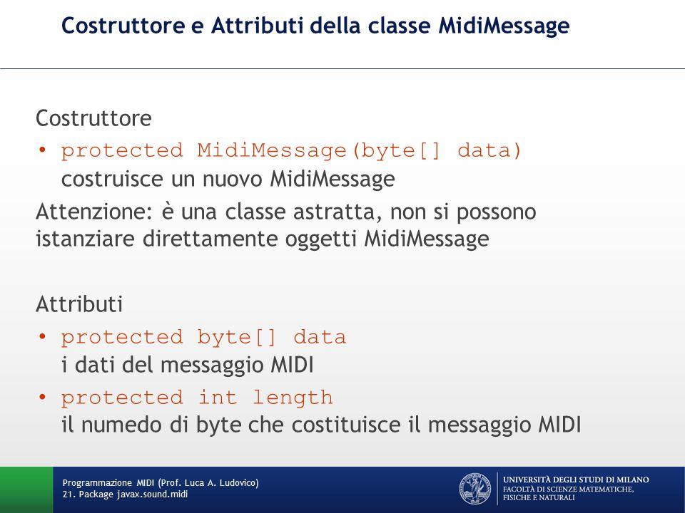 Costruttore e Attributi della classe MidiMessage Costruttore protected MidiMessage(byte[] data) costruisce un nuovo MidiMessage Attenzione: è una clas