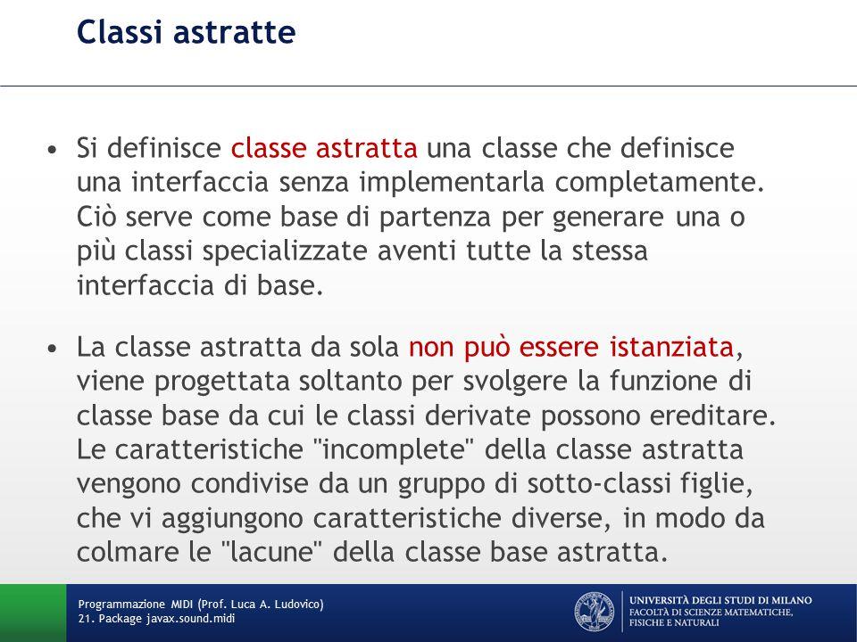 Classi astratte Si definisce classe astratta una classe che definisce una interfaccia senza implementarla completamente. Ciò serve come base di parten