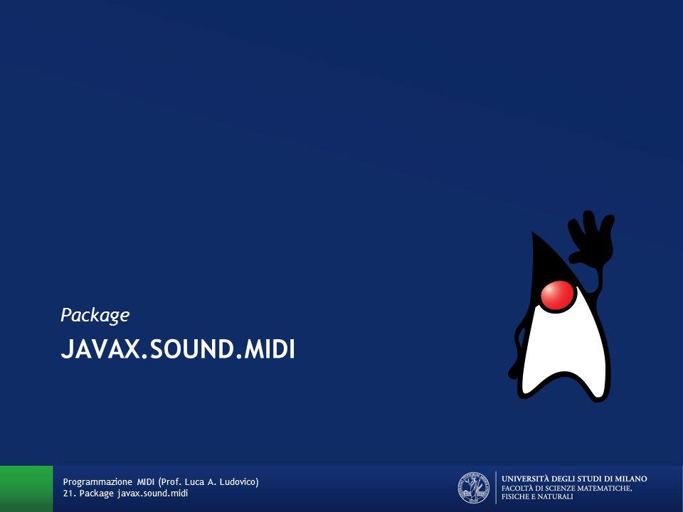 JAVAX.SOUND.MIDI Package Programmazione MIDI (Prof. Luca A. Ludovico) 21. Package javax.sound.midi
