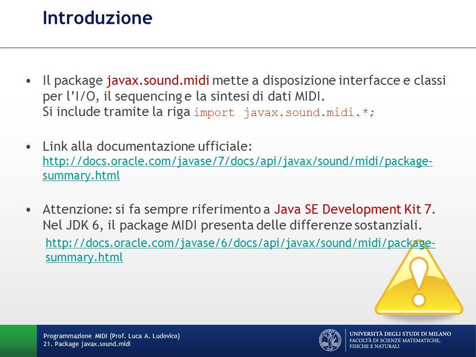 Introduzione Programmazione MIDI (Prof. Luca A. Ludovico) 21. Package javax.sound.midi Il package javax.sound.midi mette a disposizione interfacce e c