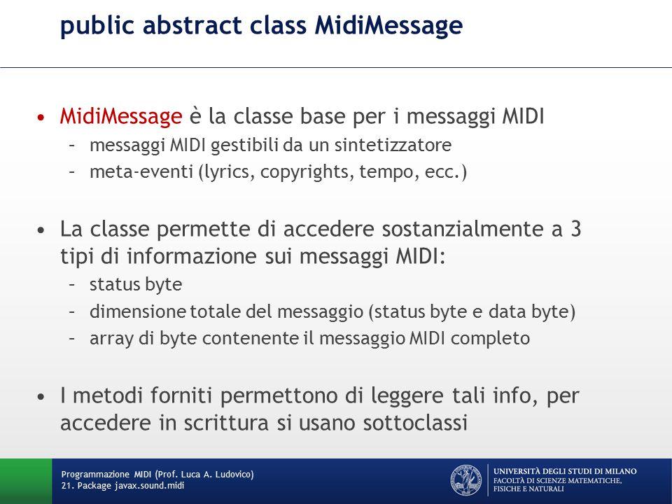 public abstract class MidiMessage MidiMessage è la classe base per i messaggi MIDI –messaggi MIDI gestibili da un sintetizzatore –meta-eventi (lyrics,