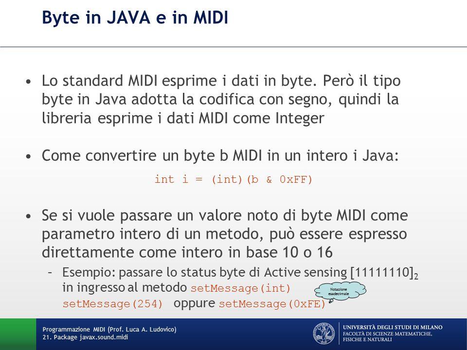 Byte in JAVA e in MIDI Lo standard MIDI esprime i dati in byte. Però il tipo byte in Java adotta la codifica con segno, quindi la libreria esprime i d