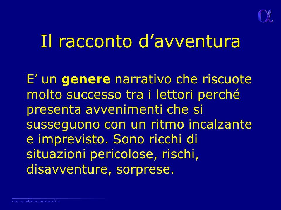 Il racconto d'avventura E' un genere narrativo che riscuote molto successo tra i lettori perché presenta avvenimenti che si susseguono con un ritmo in