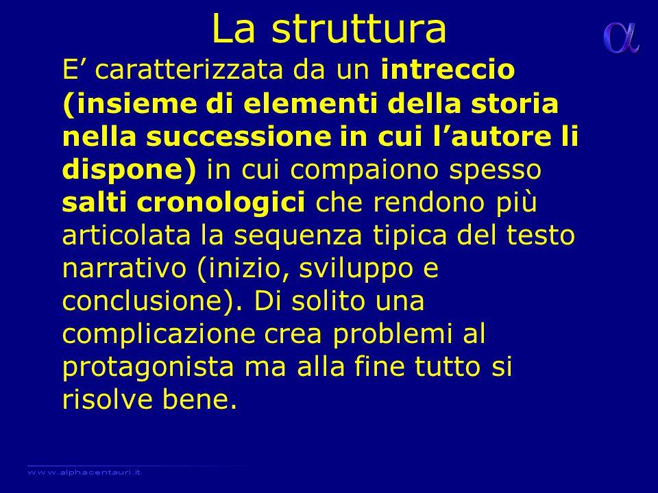 La struttura E' caratterizzata da un intreccio (insieme di elementi della storia nella successione in cui l'autore li dispone) in cui compaiono spesso