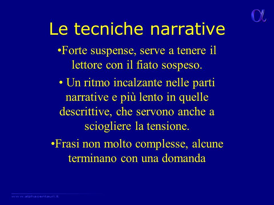 Le tecniche narrative Forte suspense, serve a tenere il lettore con il fiato sospeso. Un ritmo incalzante nelle parti narrative e più lento in quelle