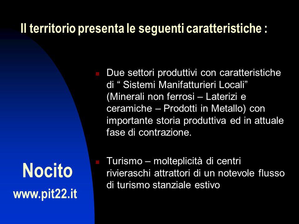 Due settori produttivi con caratteristiche di Sistemi Manifatturieri Locali (Minerali non ferrosi – Laterizi e ceramiche – Prodotti in Metallo) con importante storia produttiva ed in attuale fase di contrazione.