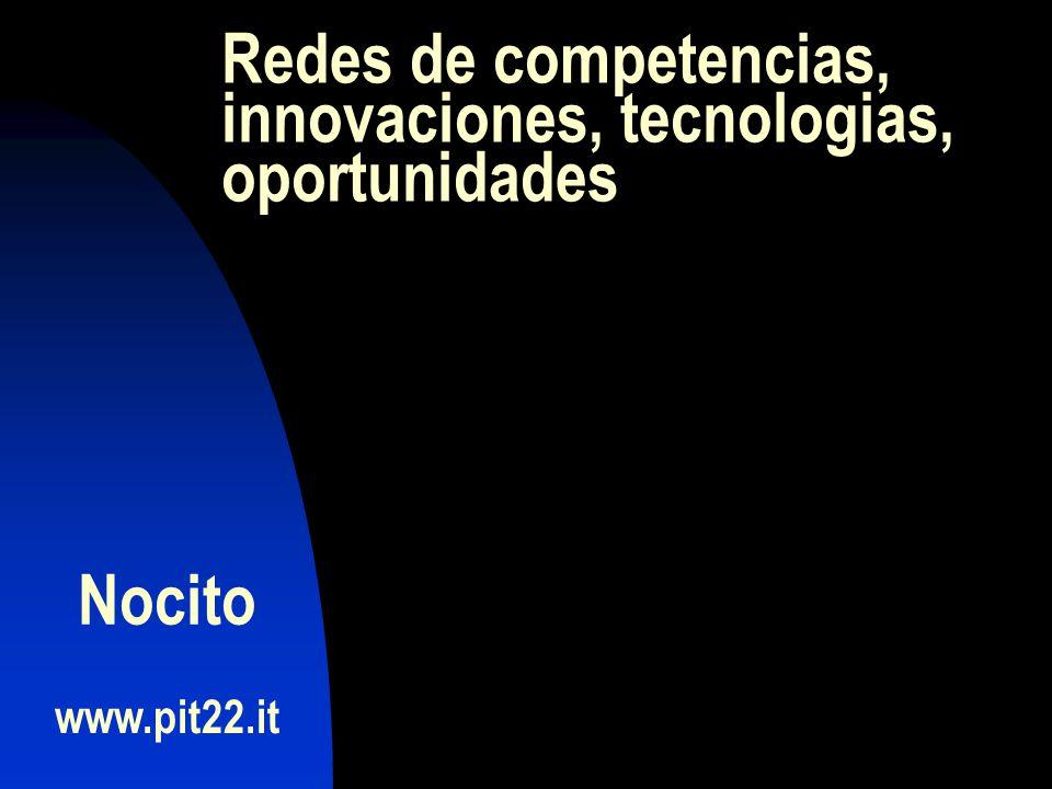 Redes de competencias, innovaciones, tecnologias, oportunidades www.pit22.it Nocito