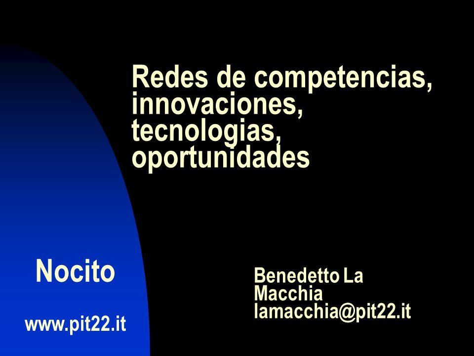 www.pit22.it Benedetto La Macchia lamacchia@pit22.it Nocito Redes de competencias, innovaciones, tecnologias, oportunidades