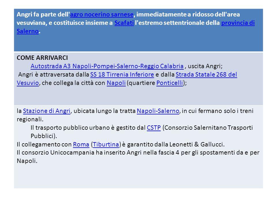 Angri fa parte dell agro nocerino sarnese, immediatamente a ridosso dell area vesuviana, e costituisce insieme a Scafati l estremo settentrionale della provincia di Salerno.agro nocerino sarneseScafatiprovincia di Salerno COME ARRIVARCI Autostrada A3 Napoli-Pompei-Salerno-Reggio CalabriaAutostrada A3 Napoli-Pompei-Salerno-Reggio Calabria, uscita Angri; Angri è attraversata dalla SS 18 Tirrenia Inferiore e dalla Strada Statale 268 del Vesuvio, che collega la città con Napoli (quartiere Ponticelli);SS 18 Tirrenia InferioreStrada Statale 268 del VesuvioNapoliPonticelli la Stazione di Angri, ubicata lungo la tratta Napoli-Salerno, in cui fermano solo i treni regionali.Stazione di AngriNapoli-Salerno Il trasporto pubblico urbano è gestito dal CSTP (Consorzio Salernitano Trasporti Pubblici).CSTP Il collegamento con Roma (Tiburtina) è garantito dalla Leonetti & Gallucci.RomaTiburtina Il consorzio Unicocampania ha inserito Angri nella fascia 4 per gli spostamenti da e per Napoli.