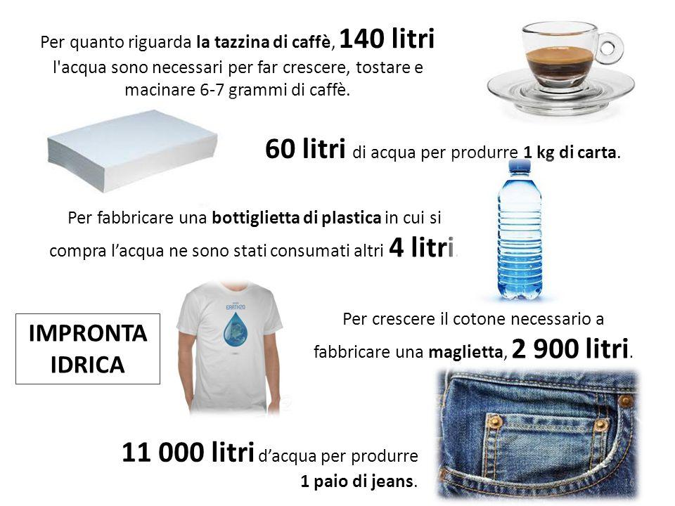 11 000 litri d'acqua per produrre 1 paio di jeans. Per crescere il cotone necessario a fabbricare una maglietta, 2 900 litri. Per fabbricare una botti