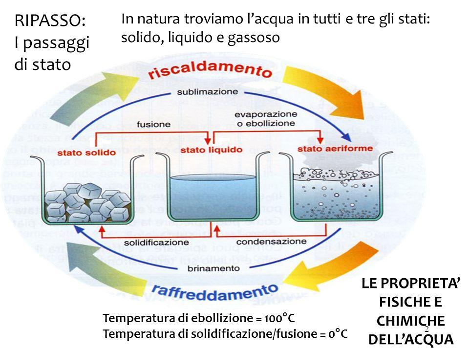Temperatura di ebollizione = 100°C Temperatura di solidificazione/fusione = 0°C RIPASSO: I passaggi di stato LE PROPRIETA' FISICHE E CHIMICHE DELL'ACQUA In natura troviamo l'acqua in tutti e tre gli stati: solido, liquido e gassoso 2