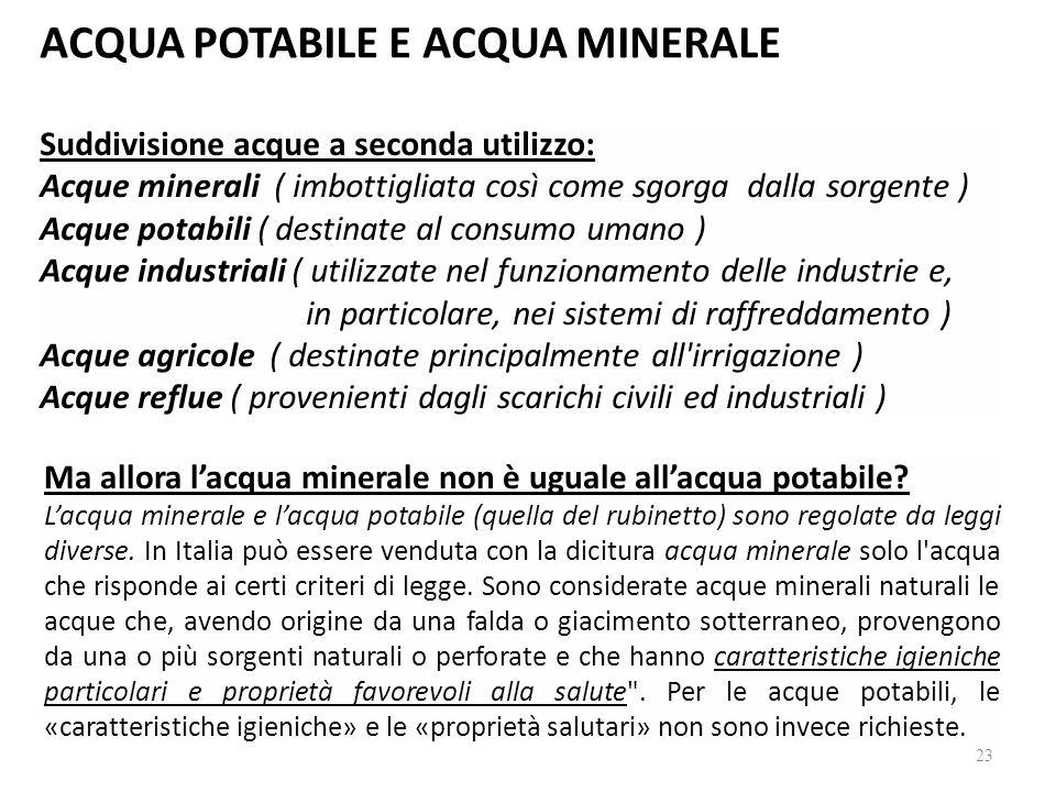 ACQUA POTABILE E ACQUA MINERALE Suddivisione acque a seconda utilizzo: Acque minerali ( imbottigliata così come sgorga dalla sorgente ) Acque potabili