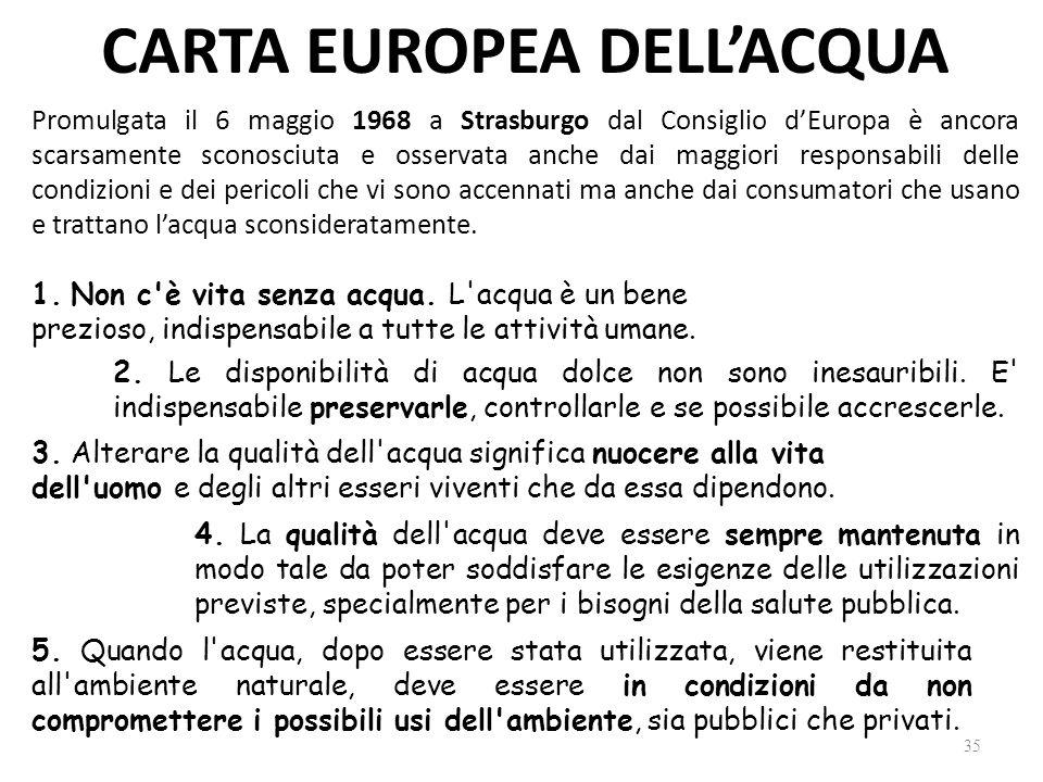 CARTA EUROPEA DELL'ACQUA Promulgata il 6 maggio 1968 a Strasburgo dal Consiglio d'Europa è ancora scarsamente sconosciuta e osservata anche dai maggiori responsabili delle condizioni e dei pericoli che vi sono accennati ma anche dai consumatori che usano e trattano l'acqua sconsideratamente.