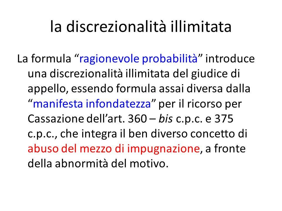 la discrezionalità illimitata La formula ragionevole probabilità introduce una discrezionalità illimitata del giudice di appello, essendo formula assai diversa dalla manifesta infondatezza per il ricorso per Cassazione dell'art.