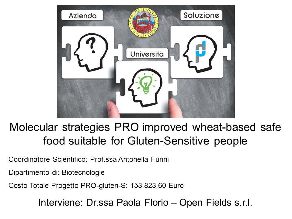 Molecular strategies PRO improved wheat-based safe food suitable for Gluten-Sensitive people Coordinatore Scientifico: Prof.ssa Antonella Furini Dipar