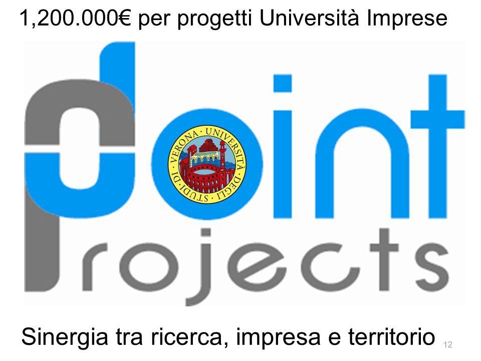 Sinergia tra ricerca, impresa e territorio 1,200.000€ per progetti Università Imprese 12