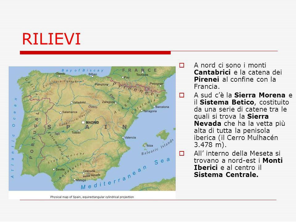 PIANURE  La più grande pianura spagnola è quella Andalusa ed è attraversata dal fiume Gualdaquivir.