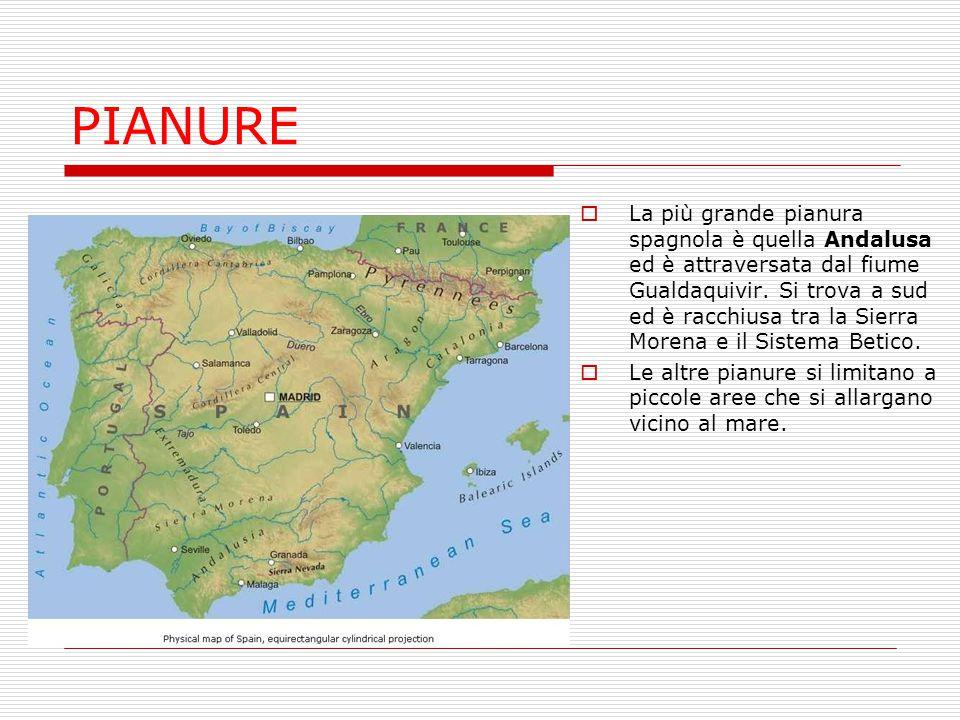 MARI La Spagna è bagnata:  a nord, a nord-ovest e a sud- ovest dall' Oceano Atlantico.