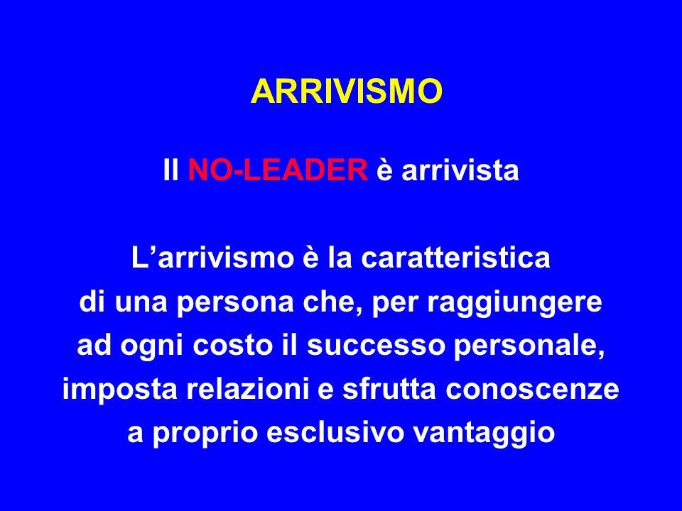 ARRIVISMO Il NO-LEADER è arrivista L'arrivismo è la caratteristica di una persona che, per raggiungere ad ogni costo il successo personale, imposta re