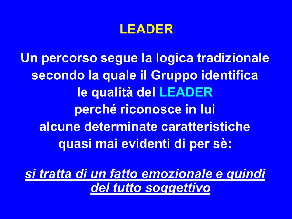LEADER Un percorso segue la logica tradizionale secondo la quale il Gruppo identifica le qualità del LEADER perché riconosce in lui alcune determinate