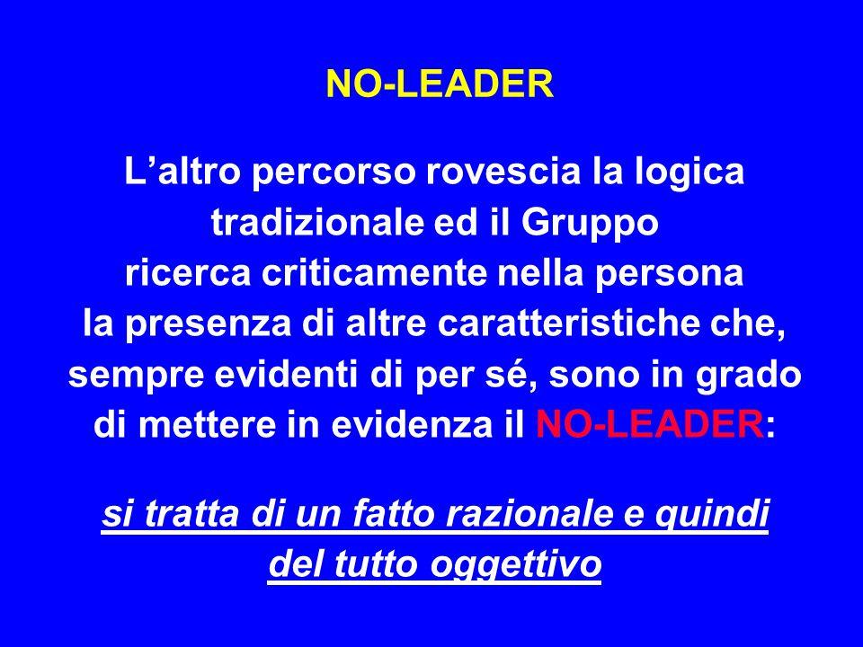 LEADER e NO-LEADER Il concetto di NO-LEADER spesso evita che il Gruppo possa correre il rischio di individuare il LEADER inadeguato o sbagliato e di solito impone, opportunamente, maggiori approfondimenti nella scelta