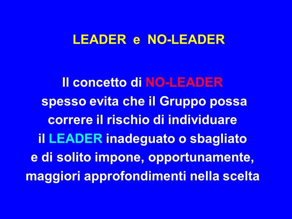 LEADER e NO-LEADER Il concetto di NO-LEADER spesso evita che il Gruppo possa correre il rischio di individuare il LEADER inadeguato o sbagliato e di s