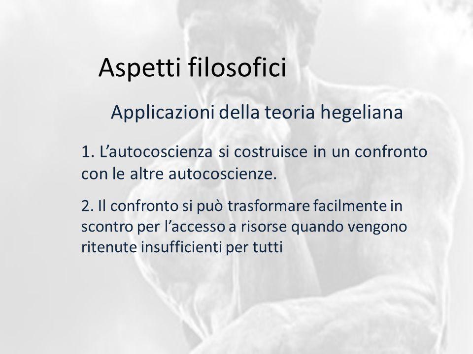 Aspetti filosofici Applicazioni della teoria hegeliana 1.
