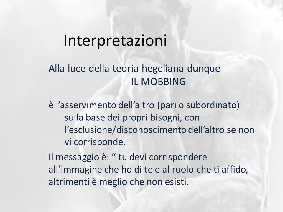 Interpretazioni Alla luce della teoria hegeliana dunque è l'asservimento dell'altro (pari o subordinato) sulla base dei propri bisogni, con l'esclusione/disconoscimento dell'altro se non vi corrisponde.