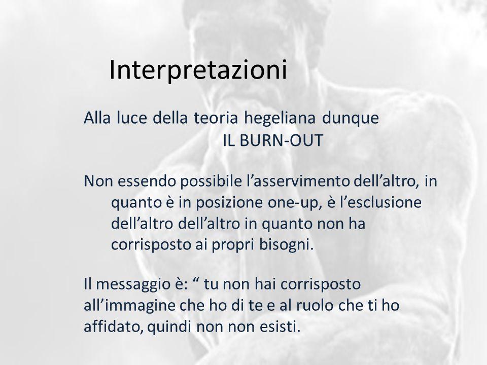 Interpretazioni Alla luce della teoria hegeliana dunque Non essendo possibile l'asservimento dell'altro, in quanto è in posizione one-up, è l'esclusione dell'altro dell'altro in quanto non ha corrisposto ai propri bisogni.