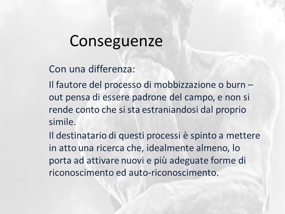 Conseguenze Con una differenza: Il fautore del processo di mobbizzazione o burn – out pensa di essere padrone del campo, e non si rende conto che si s