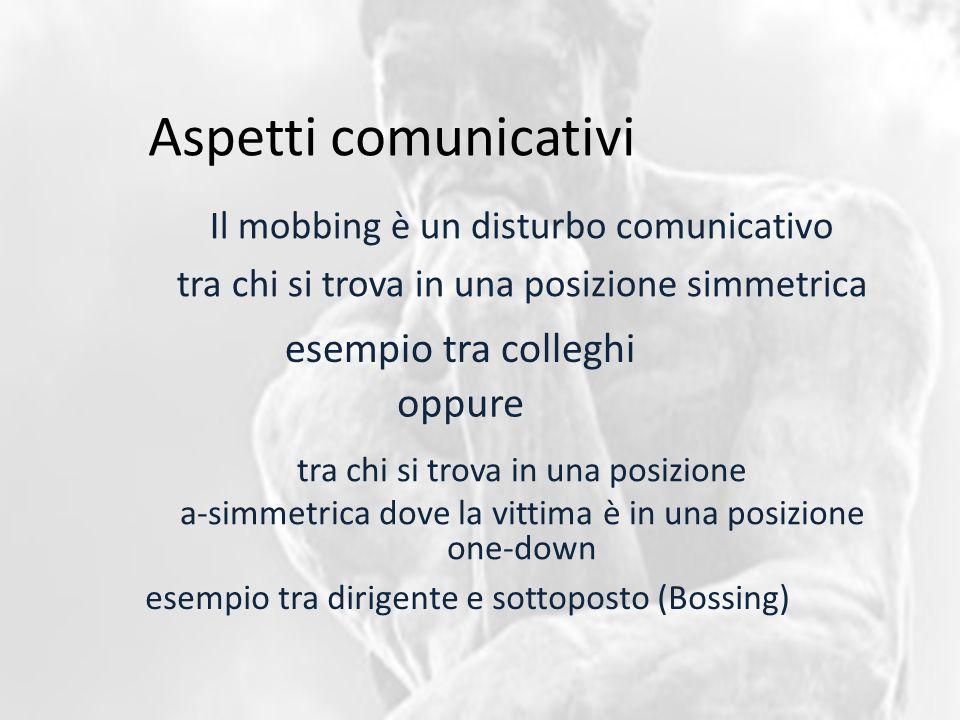 Aspetti comunicativi Il mobbing è un disturbo comunicativo tra chi si trova in una posizione simmetrica esempio tra colleghi tra chi si trova in una posizione a-simmetrica dove la vittima è in una posizione one-down oppure esempio tra dirigente e sottoposto (Bossing)