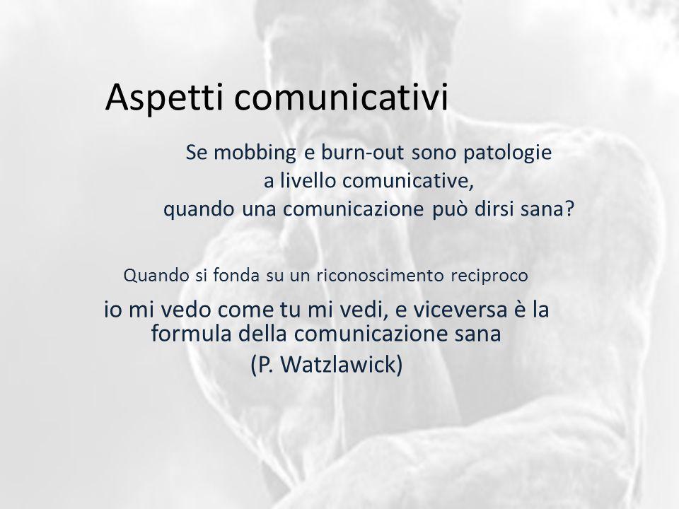 Aspetti comunicativi Se mobbing e burn-out sono patologie a livello comunicative, quando una comunicazione può dirsi sana? io mi vedo come tu mi vedi,