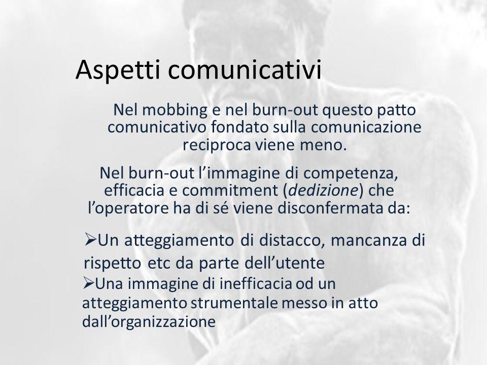 Aspetti comunicativi Nel mobbing e nel burn-out questo patto comunicativo fondato sulla comunicazione reciproca viene meno. Nel burn-out l'immagine di