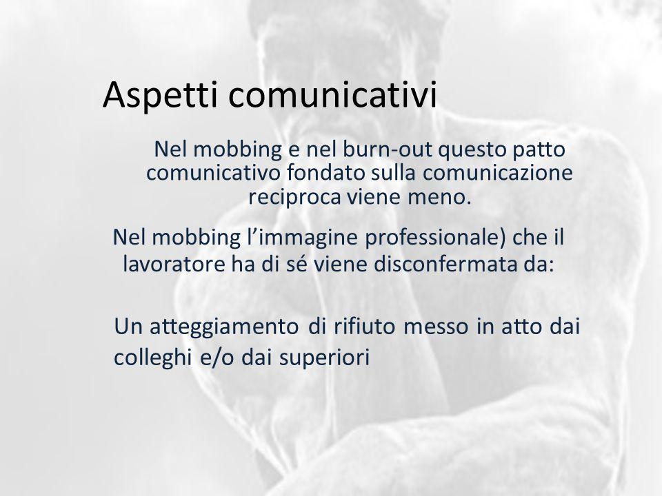 Aspetti comunicativi Nel mobbing e nel burn-out questo patto comunicativo fondato sulla comunicazione reciproca viene meno. Nel mobbing l'immagine pro