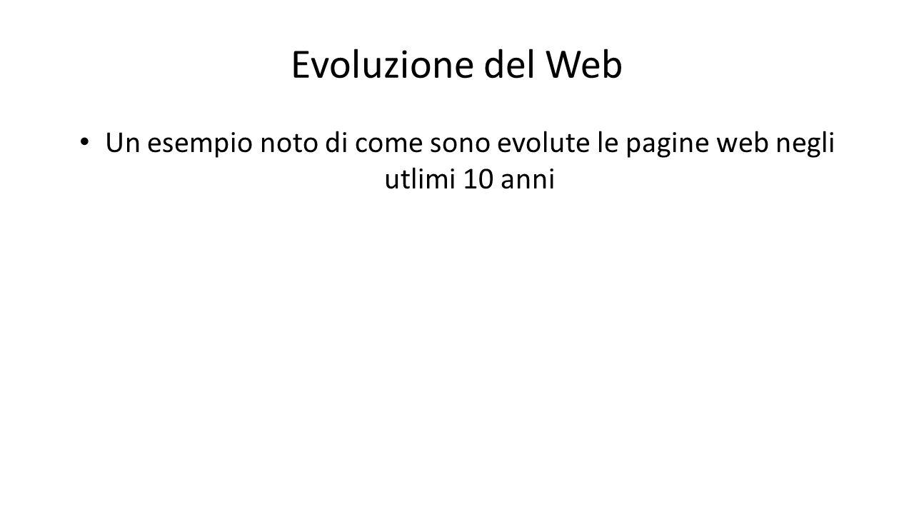 Evoluzione del Web Un esempio noto di come sono evolute le pagine web negli utlimi 10 anni