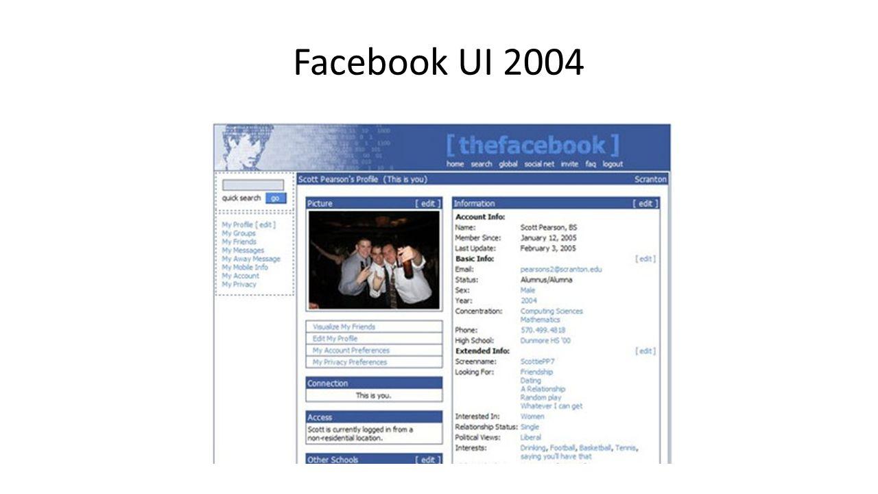 Facebook UI 2006