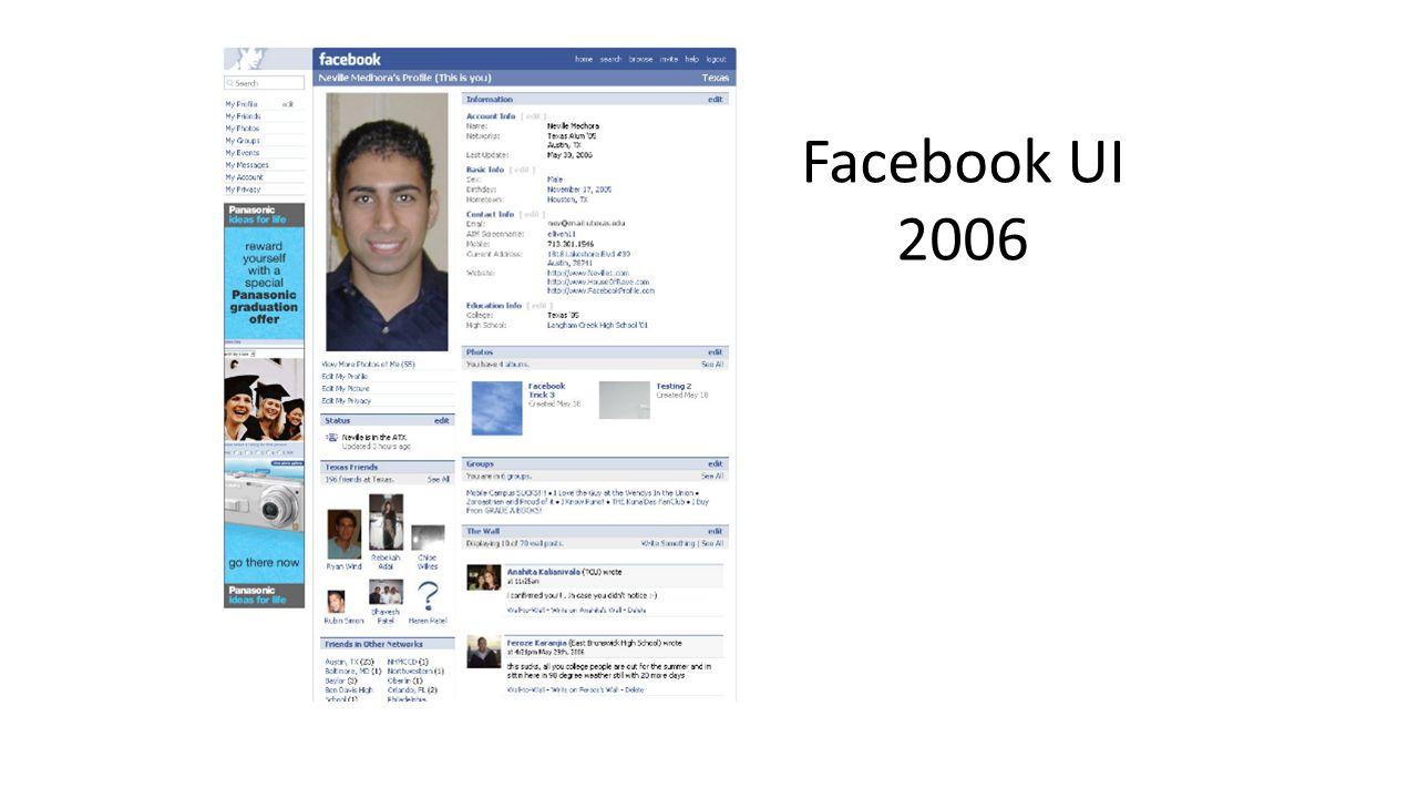 Facebook UI 2007