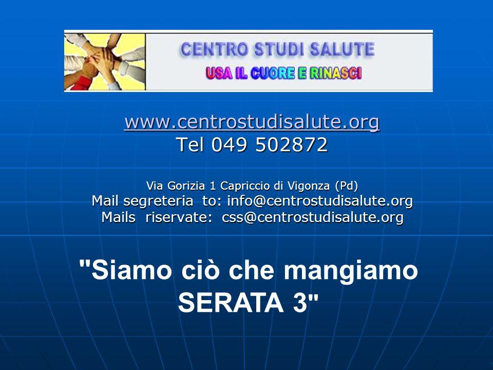 www.centrostudisalute.org Tel 049 502872 Via Gorizia 1 Capriccio di Vigonza (Pd) Mail segreteria to: info@centrostudisalute.org Mails riservate: css@centrostudisalute.org Siamo ciò che mangiamo SERATA 3