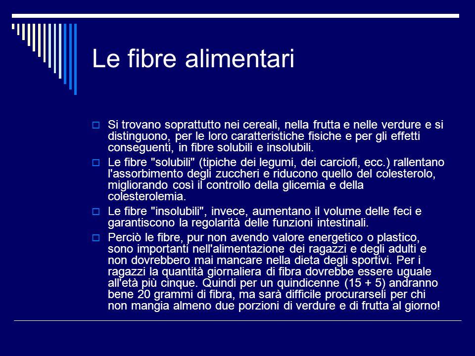 Le fibre alimentari  Si trovano soprattutto nei cereali, nella frutta e nelle verdure e si distinguono, per le loro caratteristiche fisiche e per gli effetti conseguenti, in fibre solubili e insolubili.