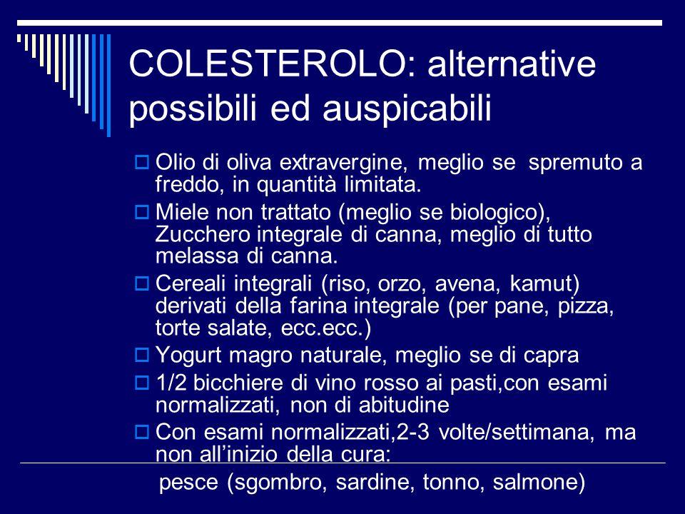 COLESTEROLO: alternative possibili ed auspicabili  Olio di oliva extravergine, meglio se spremuto a freddo, in quantità limitata.