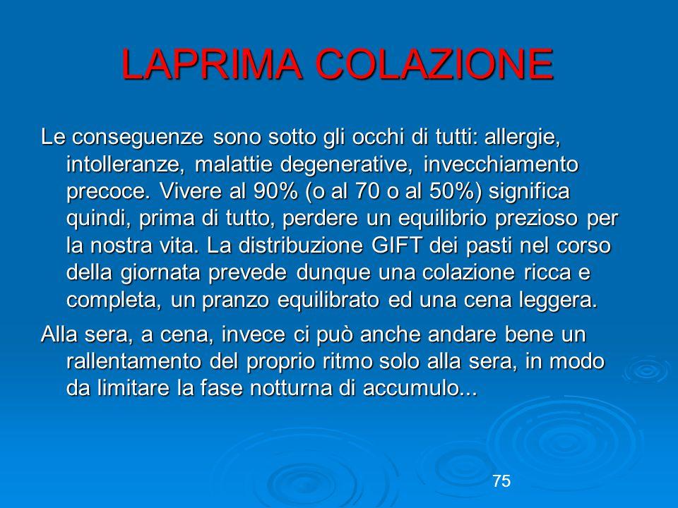 75 LAPRIMA COLAZIONE Le conseguenze sono sotto gli occhi di tutti: allergie, intolleranze, malattie degenerative, invecchiamento precoce.