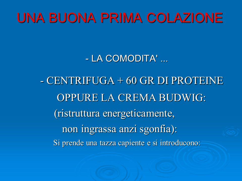 UNA BUONA PRIMA COLAZIONE - LA COMODITA ...