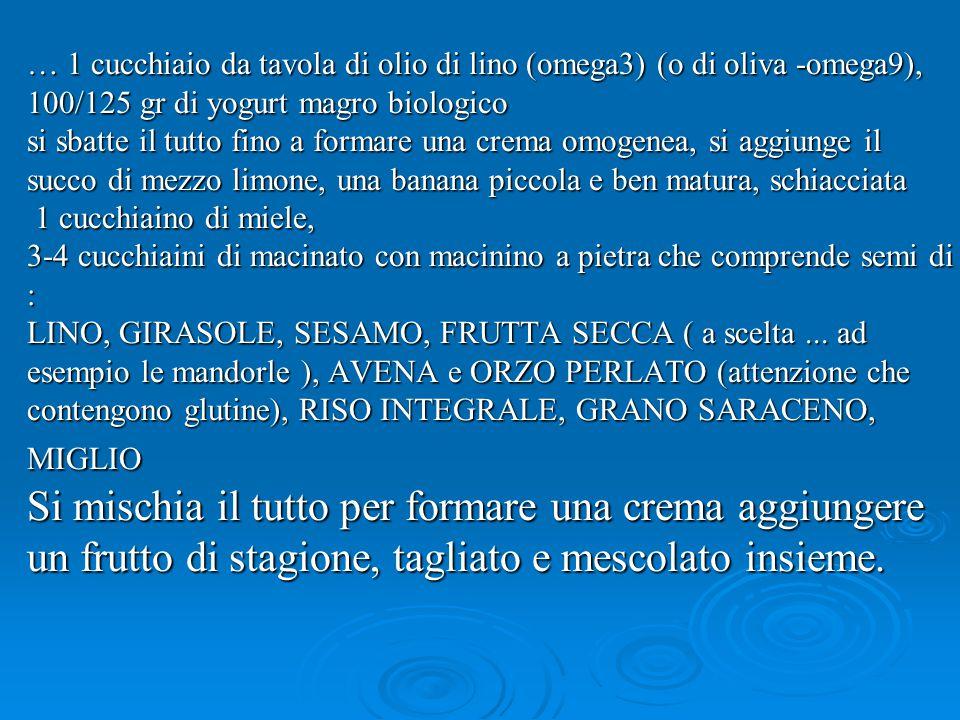 … 1 cucchiaio da tavola di olio di lino (omega3) (o di oliva -omega9), 100/125 gr di yogurt magro biologico si sbatte il tutto fino a formare una crema omogenea, si aggiunge il succo di mezzo limone, una banana piccola e ben matura, schiacciata 1 cucchiaino di miele, 3-4 cucchiaini di macinato con macinino a pietra che comprende semi di : LINO, GIRASOLE, SESAMO, FRUTTA SECCA ( a scelta...