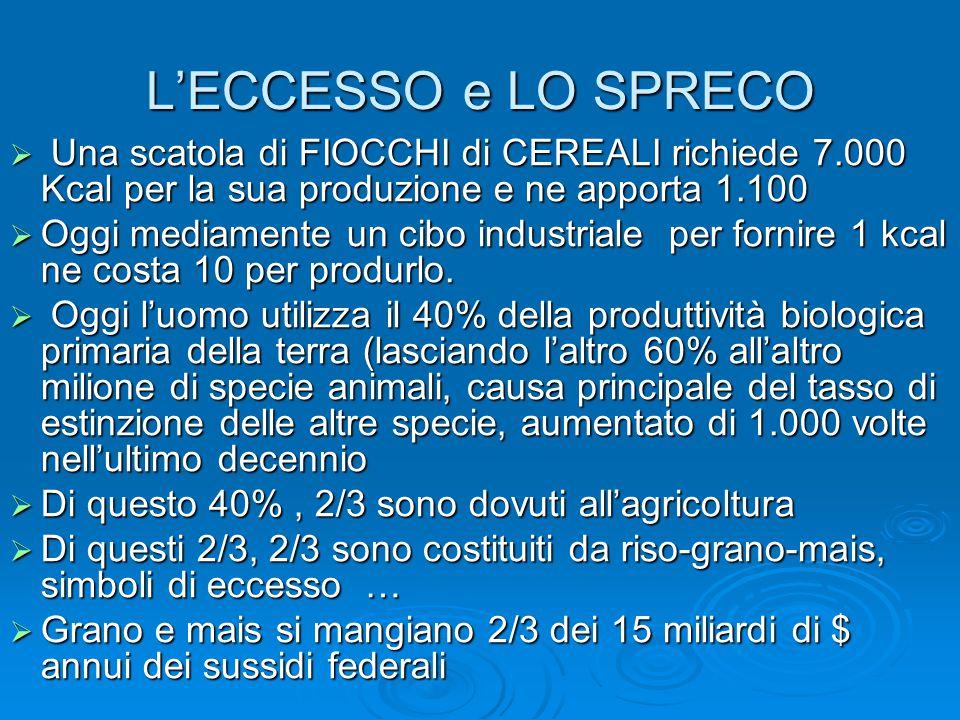 L'ECCESSO e LO SPRECO  Una scatola di FIOCCHI di CEREALI richiede 7.000 Kcal per la sua produzione e ne apporta 1.100  Oggi mediamente un cibo industriale per fornire 1 kcal ne costa 10 per produrlo.