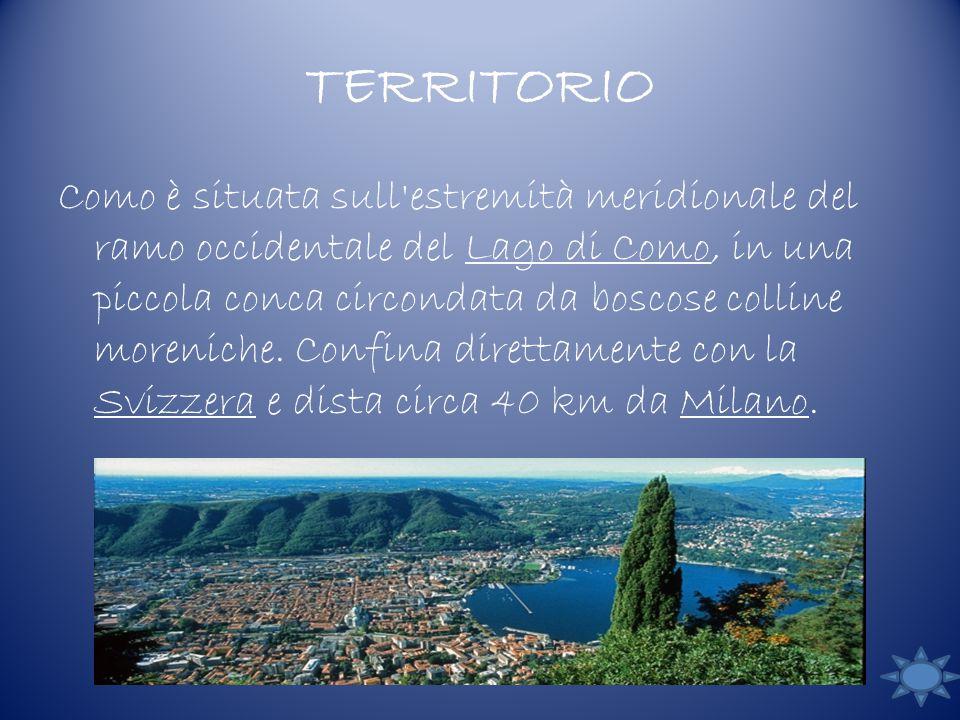 TERRITORIO Como è situata sull estremità meridionale del ramo occidentale del Lago di Como, in una piccola conca circondata da boscose colline moreniche.